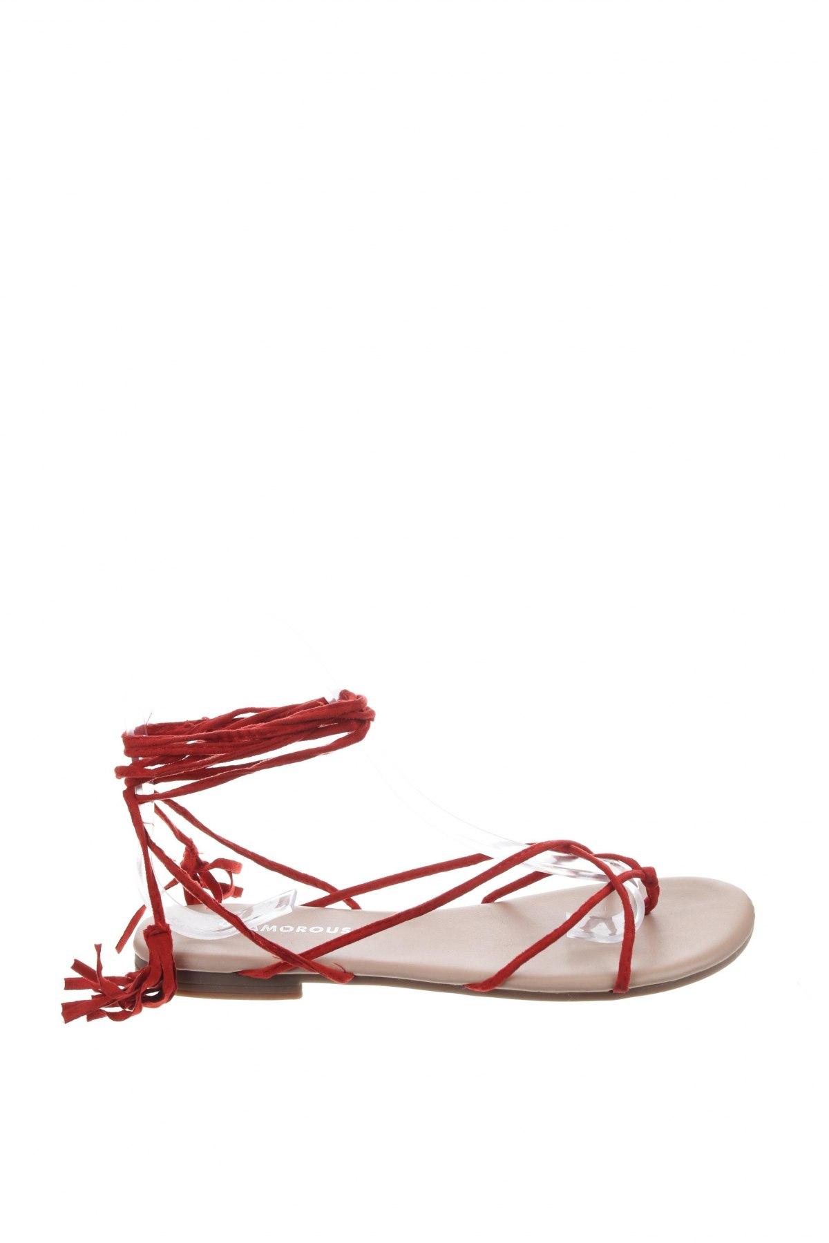 Сандали Glamorous, Размер 37, Цвят Червен, Текстил, Цена 26,95лв.