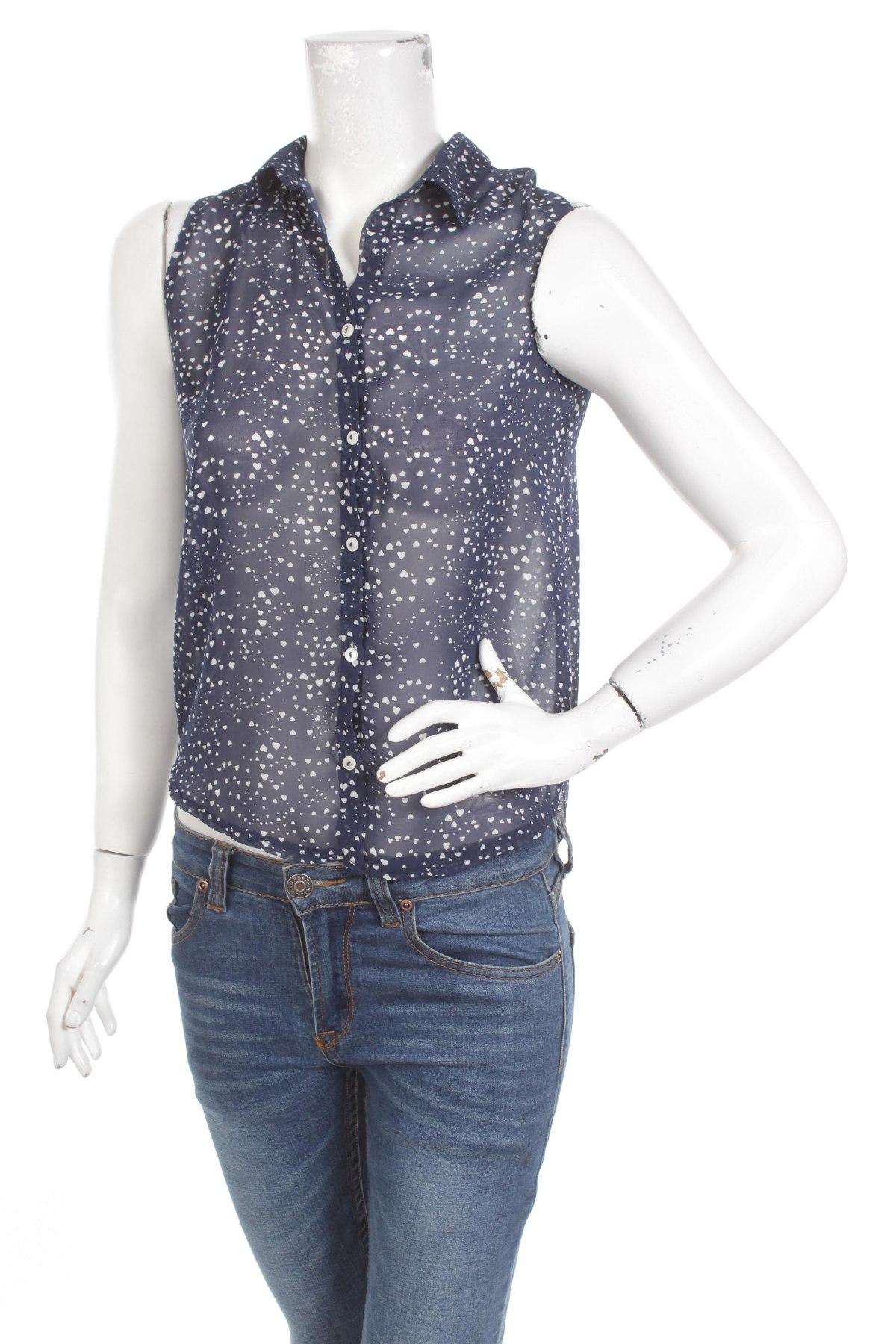 Γυναικείο πουκάμισο Mms Basic, Μέγεθος M, Χρώμα Μπλέ, Τιμή 13,92€