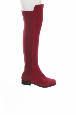 Γυναικείες μπότες Stuart Weitzman, Μέγεθος 38, Χρώμα Κόκκινο, Φυσικό σουέτ, κλωστοϋφαντουργικά προϊόντα, Τιμή 109,11€