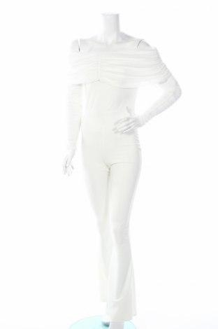 Salopetă de femei Boohoo, Mărime S, Culoare Alb, 95% poliester, 5% elastan, Preț 38,74 Lei