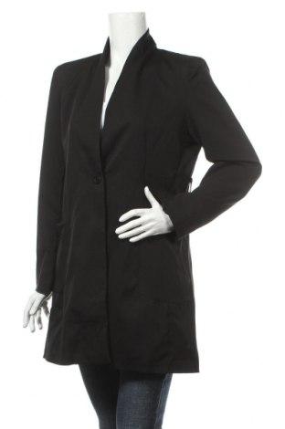 Γυναικείο παλτό Made In Italy, Μέγεθος L, Χρώμα Μαύρο, 95% πολυεστέρας, 5% ελαστάνη, Τιμή 8,76€