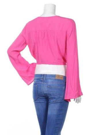 Дамска риза Bershka, Размер L, Цвят Розов, Вискоза, Цена 11,52лв.