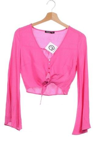 Дамска риза Bershka, Размер XS, Цвят Розов, Вискоза, Цена 18,00лв.
