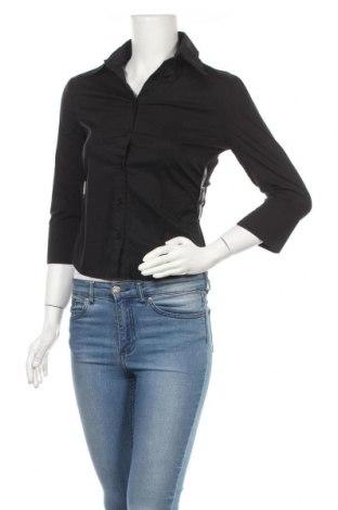 Дамска риза Mango, Размер S, Цвят Черен, 62% памук, 33% полиамид, 5% еластан, Цена 17,25лв.
