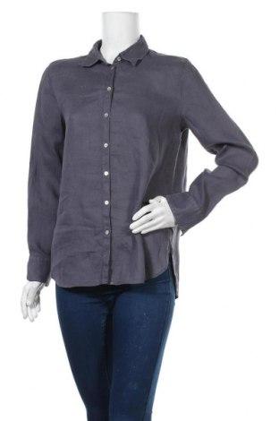 Дамска риза Massimo Dutti, Размер M, Цвят Сив, Лен, Цена 24,92лв.