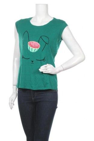 Дамска тениска Etam, Размер M, Цвят Зелен, 50% памук, 50% вискоза, Цена 16,96лв.
