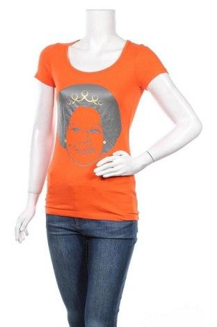 Дамска тениска Hema, Размер S, Цвят Оранжев, 95% памук, 5% еластан, Цена 5,51лв.