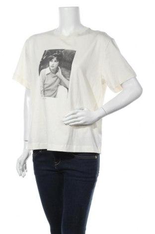 Дамска тениска Massimo Dutti, Размер M, Цвят Екрю, Памук, Цена 19,60лв.