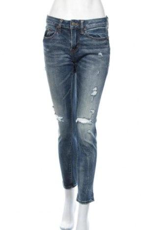 Дамски дънки American Eagle, Размер M, Цвят Син, 75% памук, 22% полиестер, 3% еластан, Цена 41,58лв.