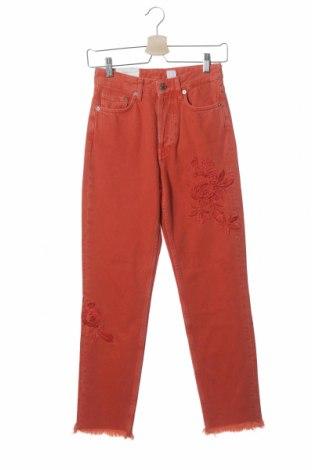 Дамски дънки H&M, Размер XS, Цвят Оранжев, Памук, Цена 24,15лв.
