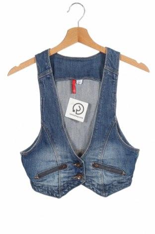 Дамски елек H&M Divided, Размер XS, Цвят Син, 98% памук, 2% еластан, Цена 7,40лв.