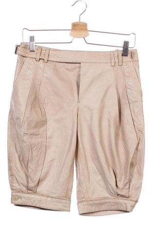 Дамски къс кожен панталон Sophia Kokosalaki, Размер S, Цвят Бежов, Естествена кожа, Цена 105,84лв.