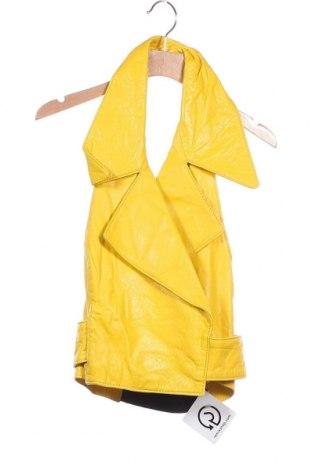 Дамски кожен елек, Размер XS, Цвят Жълт, Естествена кожа, Цена 56,70лв.