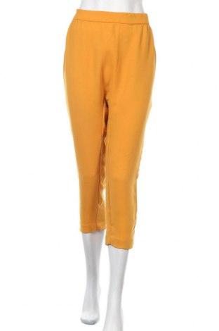 Дамски панталон Zara Trafaluc, Размер L, Цвят Жълт, Полиестер, Цена 32,55лв.
