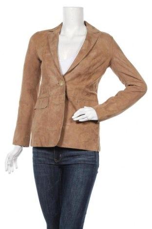 Γυναικείο δερμάτινο σακάκι Massimo Dutti, Μέγεθος XS, Χρώμα  Μπέζ, Γνήσιο δέρμα, Τιμή 70,18€