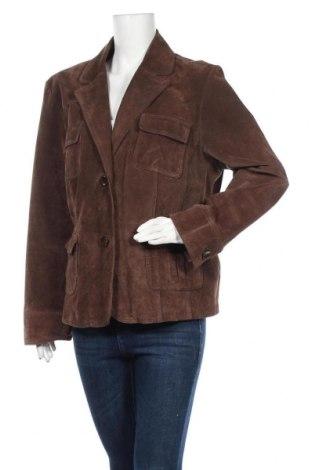 Дамско кожено сако Yessica, Размер XXL, Цвят Кафяв, Естествен велур, Цена 18,11лв.
