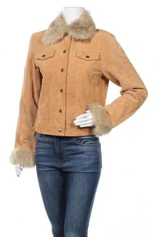 Дамско кожено яке, Размер M, Цвят Оранжев, Естествен велур, текстил, Цена 23,10лв.