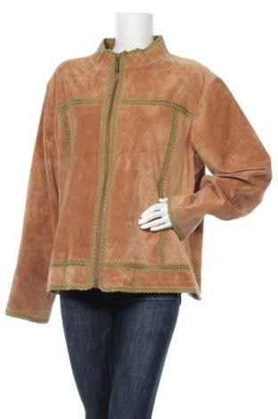 Дамско кожено яке, Размер XXL, Цвят Бежов, Естествен велур, Цена 21,53лв.