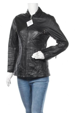 Дамско кожено яке, Размер XS, Цвят Черен, Естествена кожа, Цена 87,78лв.