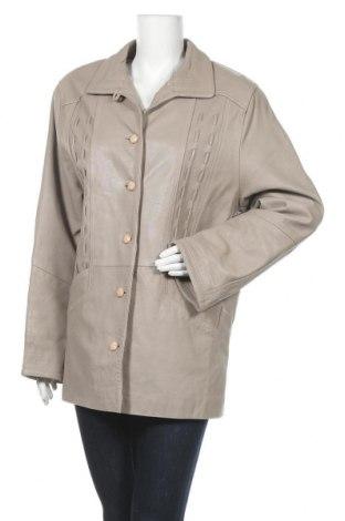 Дамско кожено яке, Размер L, Цвят Сив, Естествена кожа, Цена 14,18лв.
