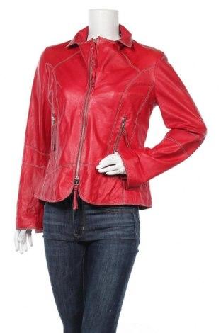 Дамско кожено яке, Размер M, Цвят Червен, Естествена кожа, Цена 60,48лв.