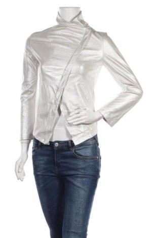Дамско кожено яке, Размер S, Цвят Сребрист, Еко кожа, Цена 21,95лв.