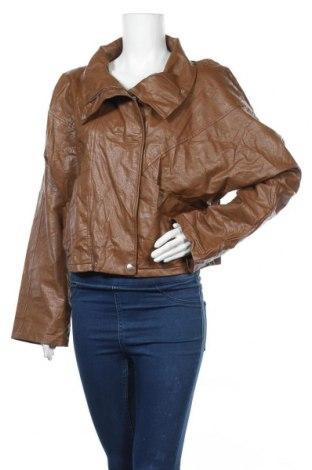 Дамско кожено яке Pretty Little Thing, Размер L, Цвят Кафяв, Еко кожа, Цена 12,29лв.