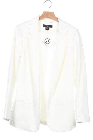 Дамско сако H&M, Размер XS, Цвят Бял, 91% полиестер, 9% еластан, Цена 23,52лв.