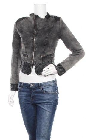 Дамско яке Secret, Размер S, Цвят Сив, 75% памук, 23% полиестер, 2% еластан, еко кожа, Цена 13,44лв.
