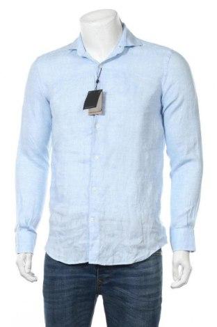 Мъжка риза Massimo Dutti, Размер S, Цвят Син, Лен, Цена 74,25лв.