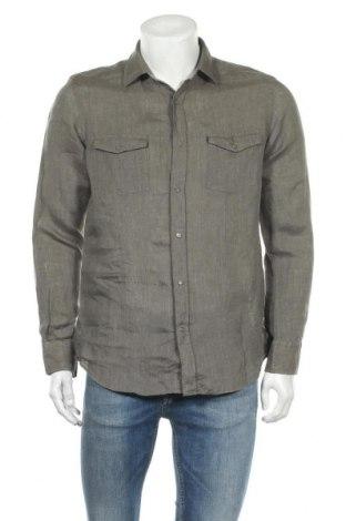Ανδρικό πουκάμισο Massimo Dutti, Μέγεθος M, Χρώμα Πράσινο, Λινό, Τιμή 19,49€