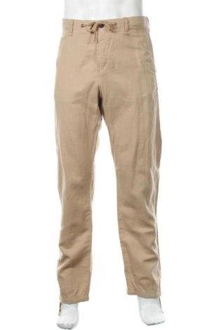 Мъжки панталон H&M L.O.G.G., Размер L, Цвят Бежов, 55% лен, 45% памук, Цена 30,45лв.