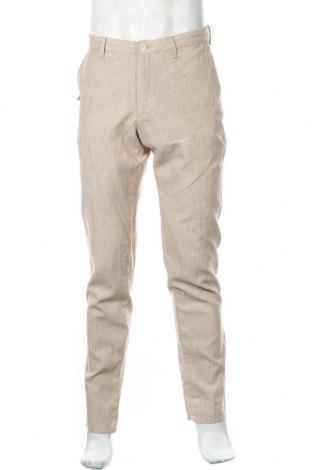 Pánské kalhoty  Massimo Dutti, Velikost M, Barva Béžová, 55% len, 45% bavlna, Cena  315,00Kč
