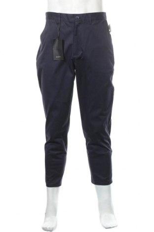 Мъжки панталон Zara, Размер M, Цвят Син, 98% памук, 2% еластан, Цена 15,49лв.