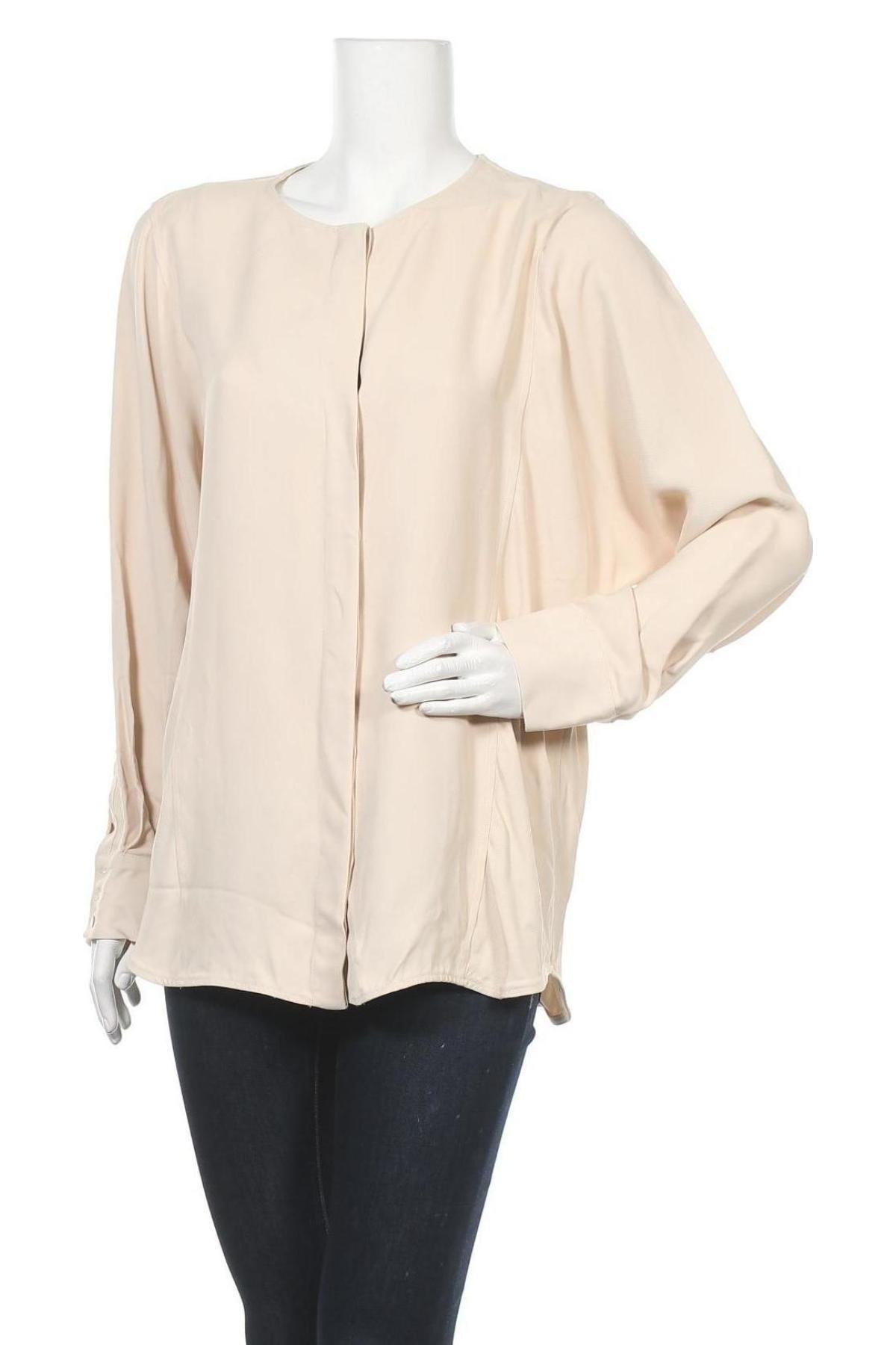 Дамска риза Massimo Dutti, Размер L, Цвят Бежов, Вискоза, Цена 26,88лв.