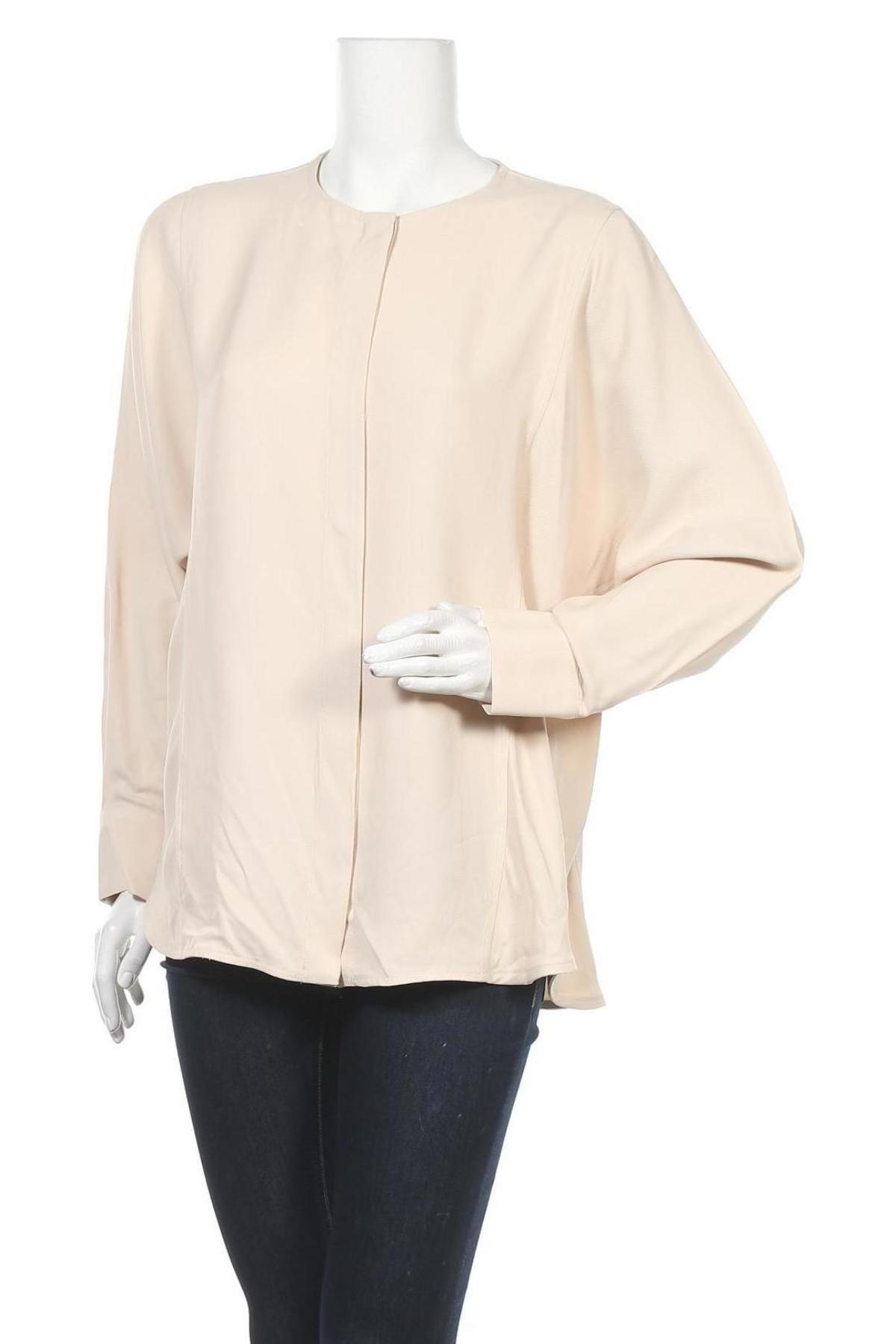 Дамска риза Massimo Dutti, Размер M, Цвят Бежов, Вискоза, Цена 26,88лв.