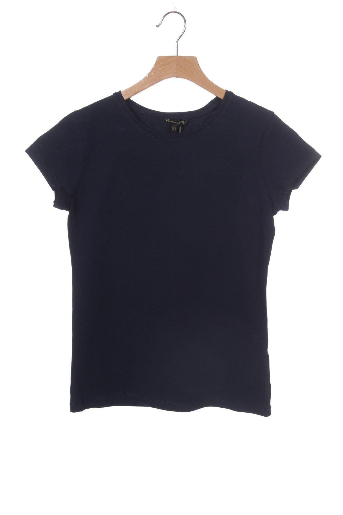 Дамска тениска Massimo Dutti, Размер XS, Цвят Син, 92% памук, 8% еластан, Цена 14,75лв.