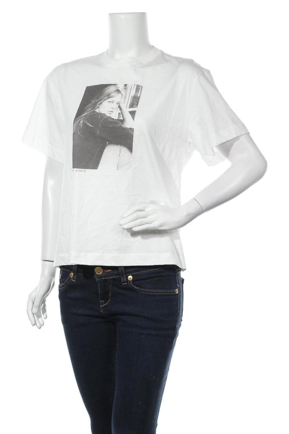 Дамска тениска Massimo Dutti, Размер S, Цвят Бял, Памук, Цена 15,40лв.
