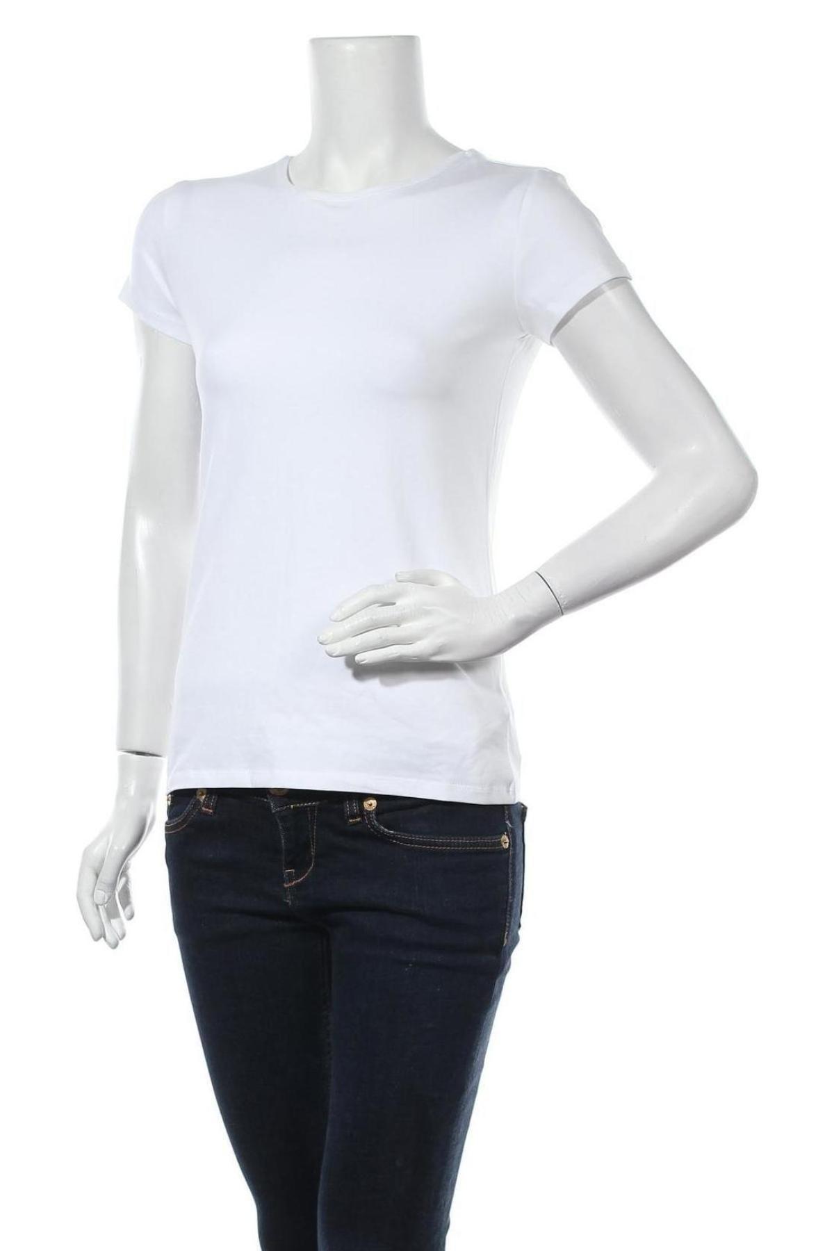 Дамска тениска Massimo Dutti, Размер L, Цвят Бял, 92% памук, 8% еластан, Цена 11,80лв.