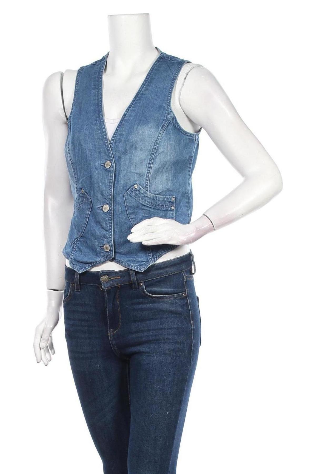 Дамски елек Authentic Denim, Размер M, Цвят Син, 98% памук, 2% еластан, Цена 4,54лв.
