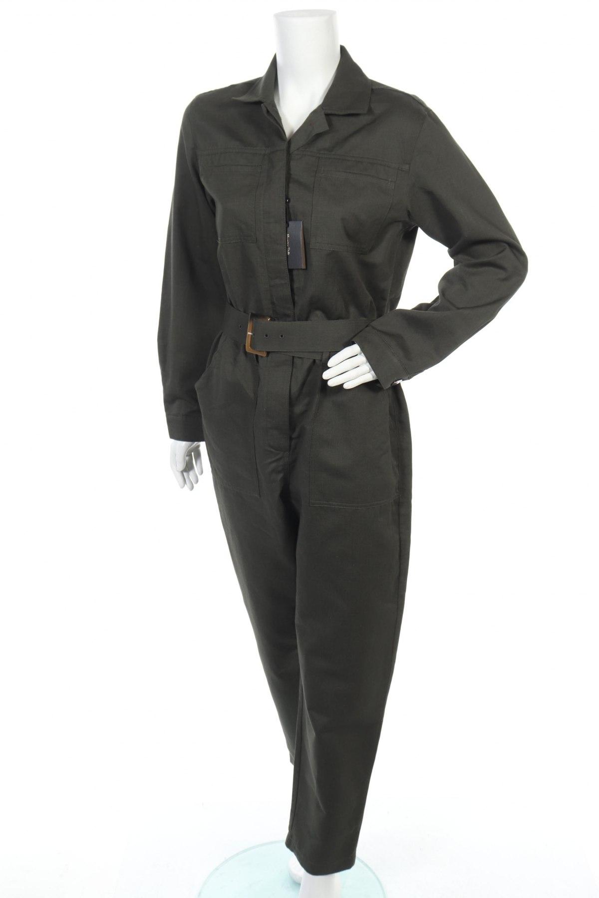 Γυναικεία σαλοπέτα Massimo Dutti, Μέγεθος L, Χρώμα Πράσινο, 74% βαμβάκι, 26% λινό, Τιμή 44,54€