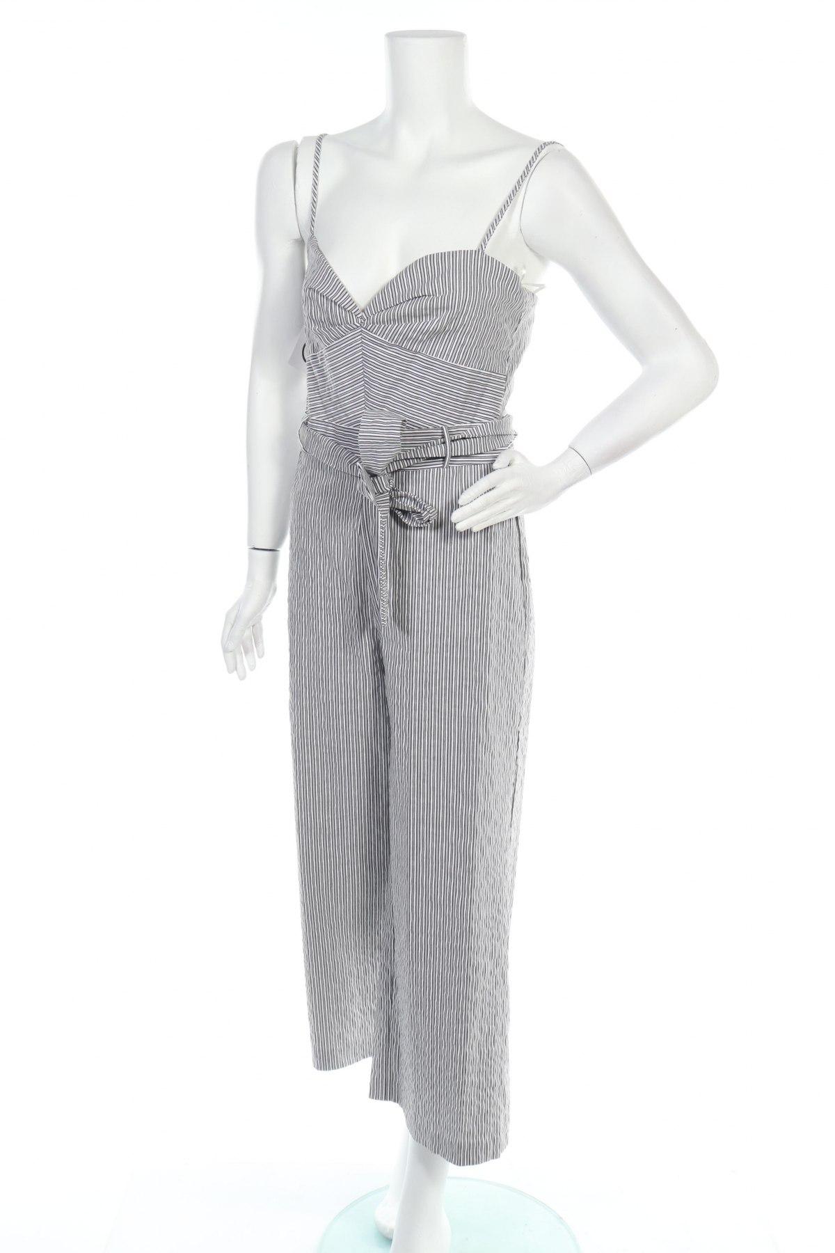 Дамски гащеризон Zara, Размер M, Цвят Сив, 66% памук, 29% полиамид, 5% еластан, Цена 29,37лв.