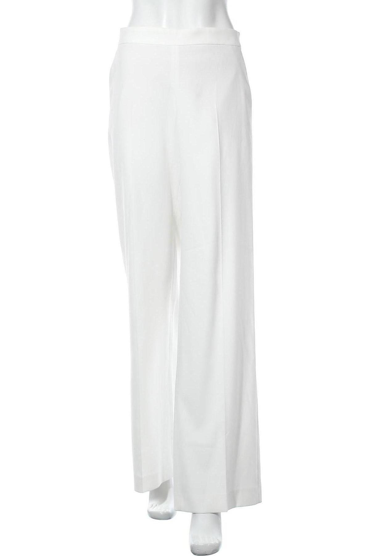 Pantaloni de femei Massimo Dutti, Mărime L, Culoare Alb, 29% poliester, 68% viscoză, 3% elastan, Preț 293,59 Lei
