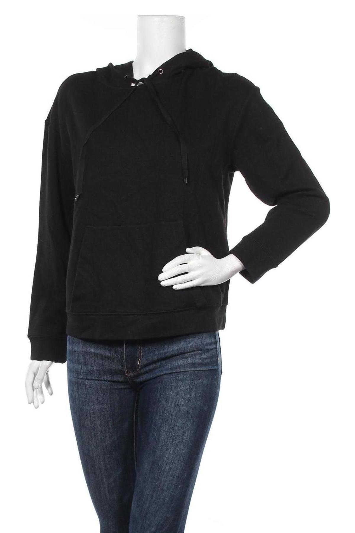 Γυναικείο φούτερ Massimo Dutti, Μέγεθος S, Χρώμα Μαύρο, 66% βαμβάκι, 25% βισκόζη, 4% πολυαμίδη, 3% λινό, 2% ελαστάνη, Τιμή 11,40€