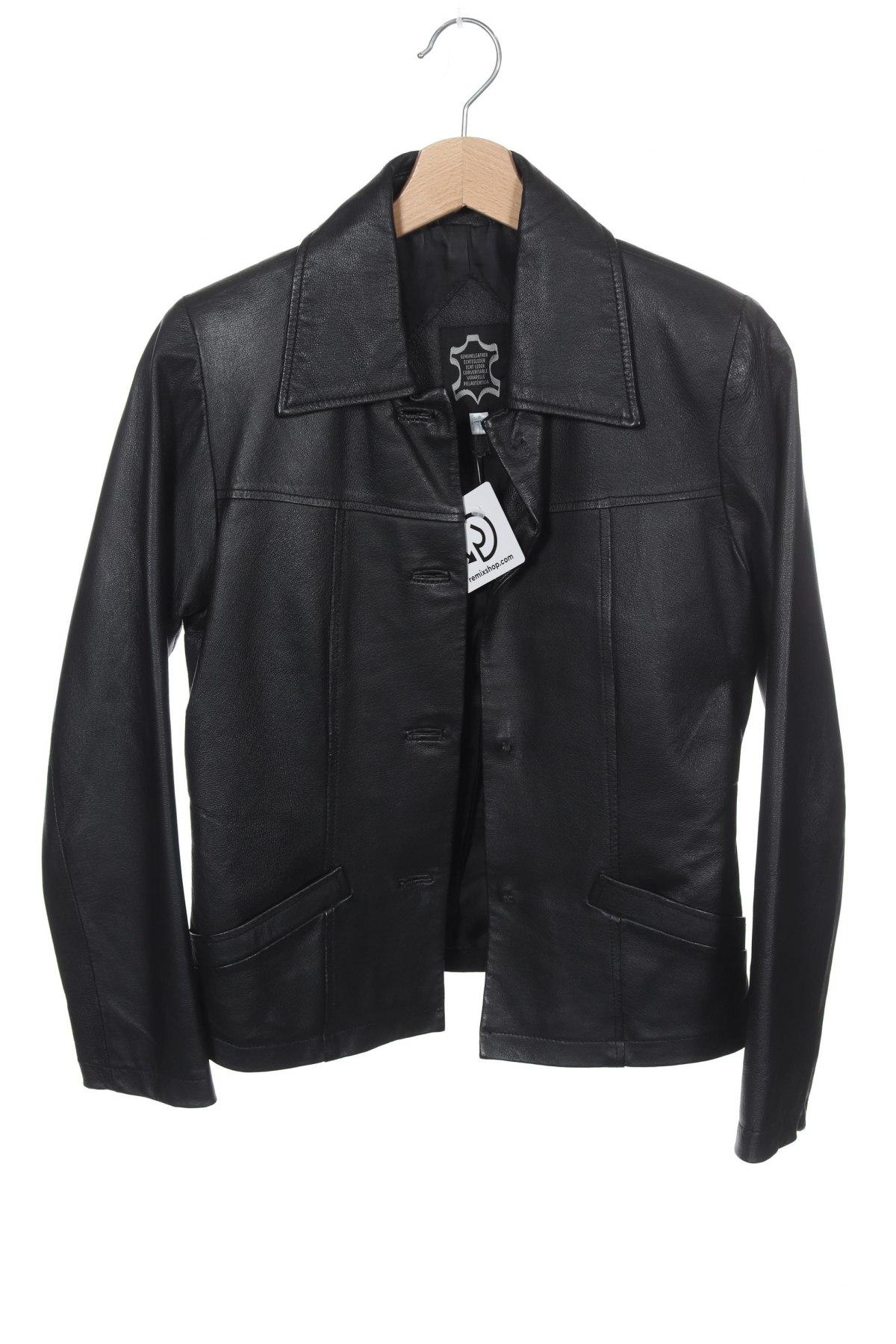 Γυναικείο δερμάτινο μπουφάν, Μέγεθος XS, Χρώμα Μαύρο, Γνήσιο δέρμα, Τιμή 30,14€