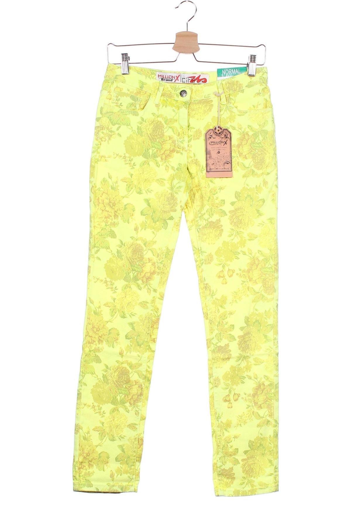 Παιδικό παντελόνι Million X, Μέγεθος 13-14y/ 164-168 εκ., Χρώμα Κίτρινο, 98% βαμβάκι, 2% ελαστάνη, Τιμή 10,64€