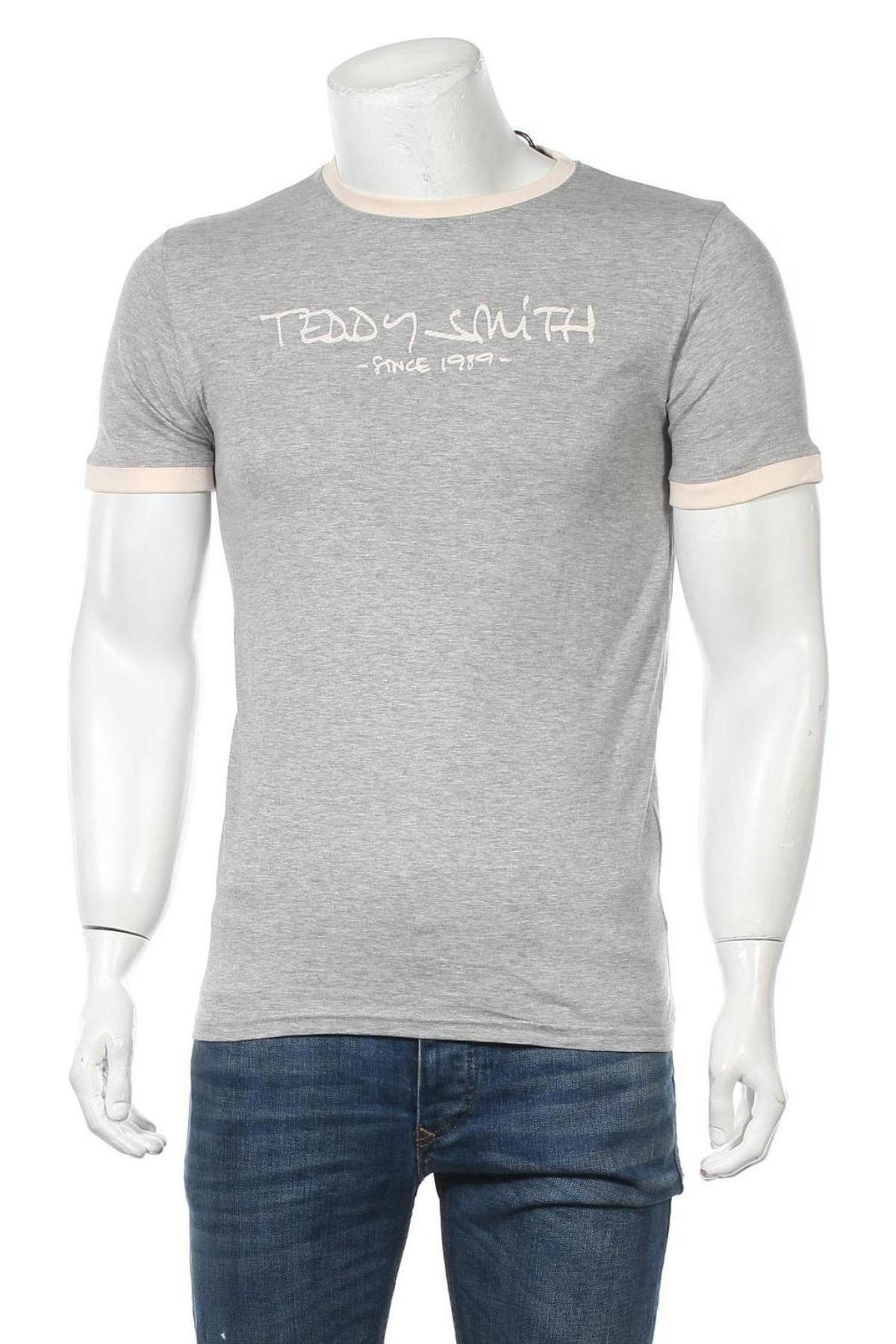 Мъжка тениска Teddy Smith, Размер M, Цвят Сив, 90% памук, 10% вискоза, Цена 7,14лв.