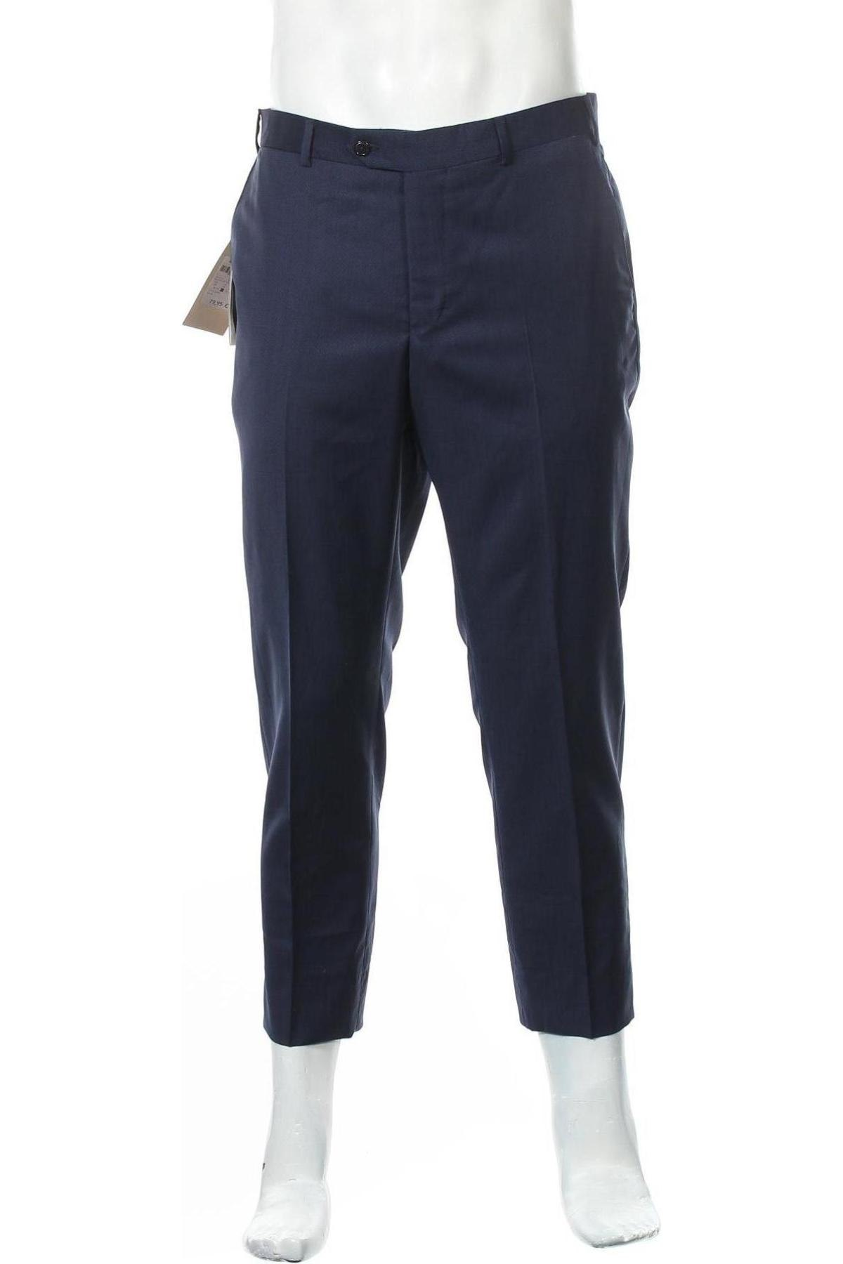 Pantaloni de bărbați Massimo Dutti, Mărime M, Culoare Albastru, Lână, Preț 342,93 Lei