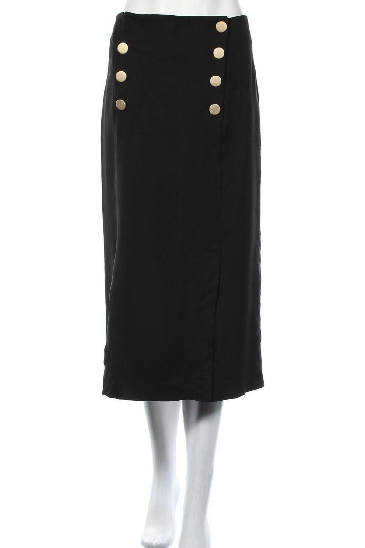 Пола Massimo Dutti, Размер L, Цвят Черен, 99% вискоза, 1% еластан, Цена 40,46лв.