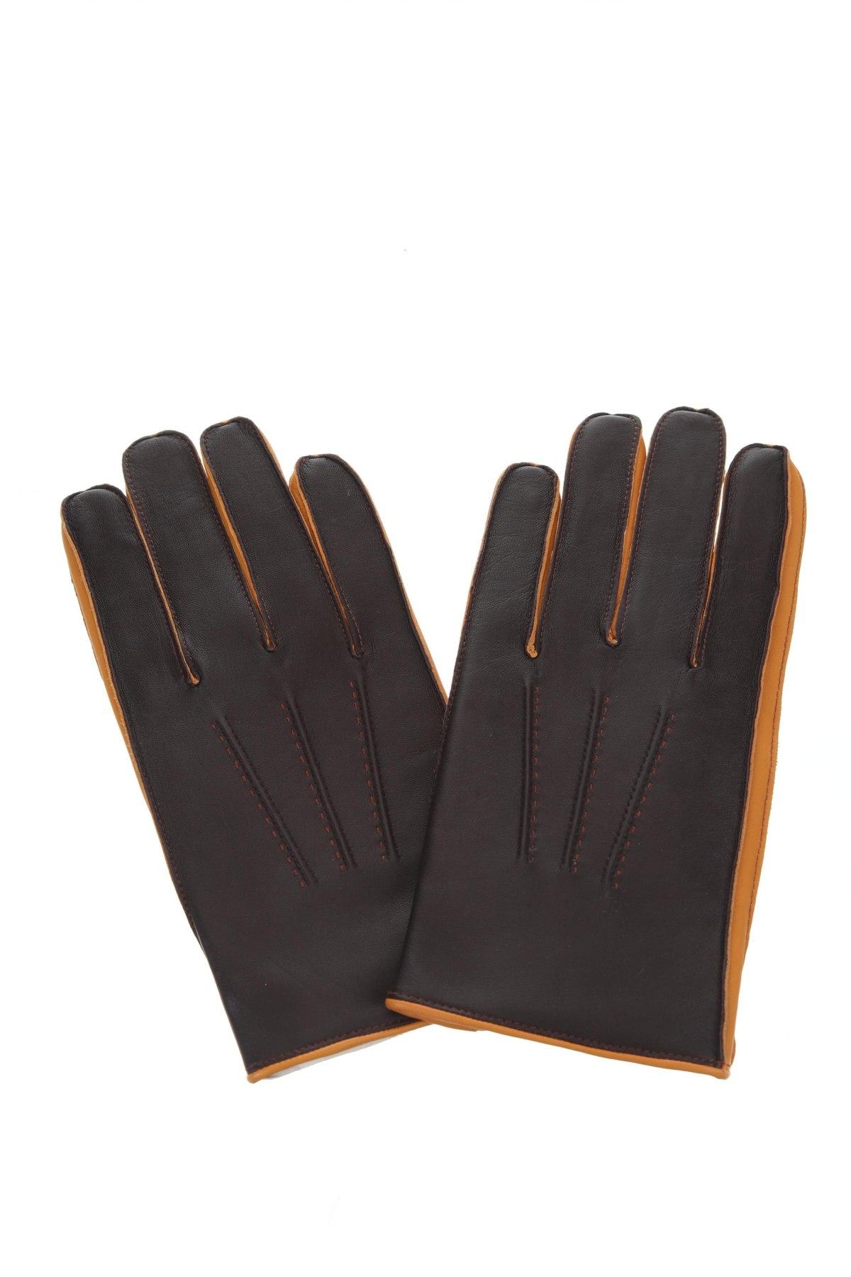 Γάντια Massimo Dutti, Χρώμα Καφέ, Γνήσιο δέρμα, Τιμή 17,32€